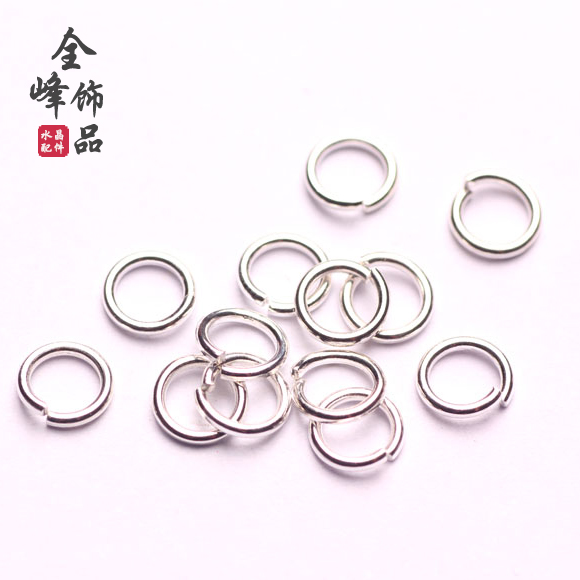 Full peak diy accessories handmade jewelry accessories diy necklace clasp 925 silver ring opening ring 6mm ring