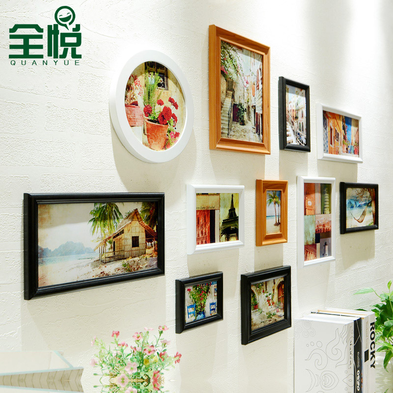 Full wyatt composite wood photo frame wall 11 european american living room wall photo frame creative combination photo frame wall 23231