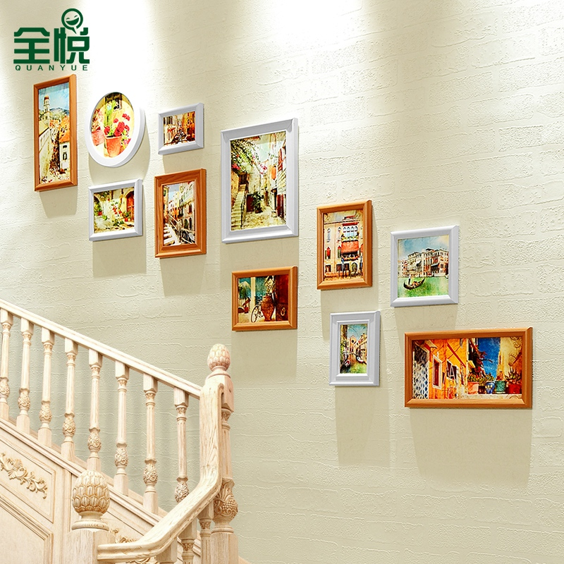 Full wyatt composite wood staircase wall photo wall creative restaurant entrance corridor wall photo frame photo wall continental 11