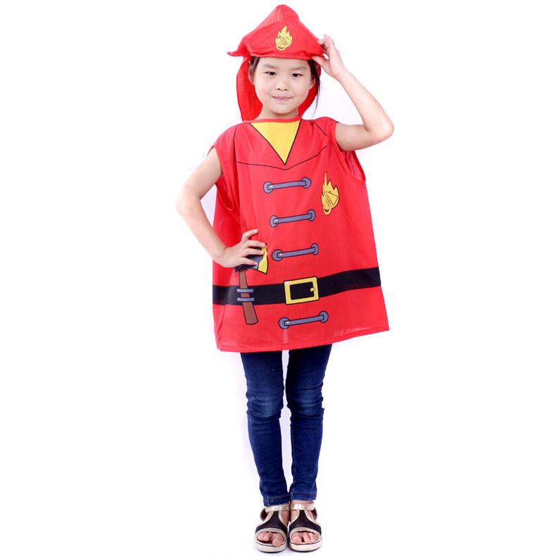 Fun point halloween dress up games for children performing the role of professional clothing clothes firefighter suit