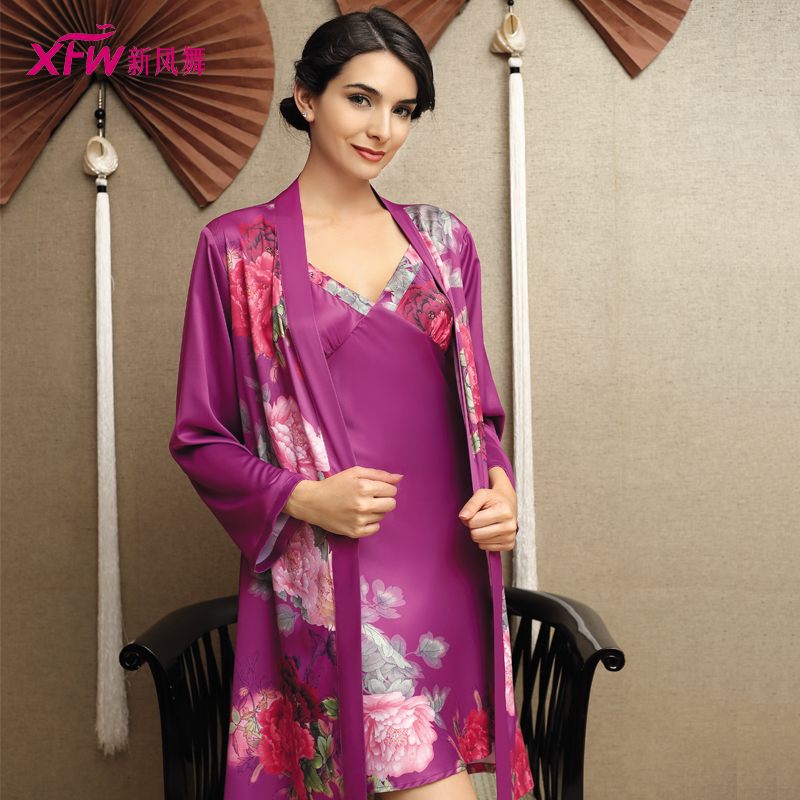 Get Quotations · Fung mo brand new autumn long sleeve silk pajamas female chinese  style new home robe pajamas 13f98951f