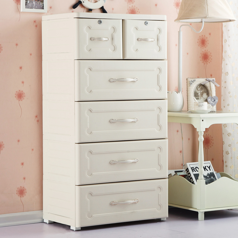 Fuqiang plastic drawer storage cabinets lockers baby simple european group in multilayer finishing cabinet chest of drawers