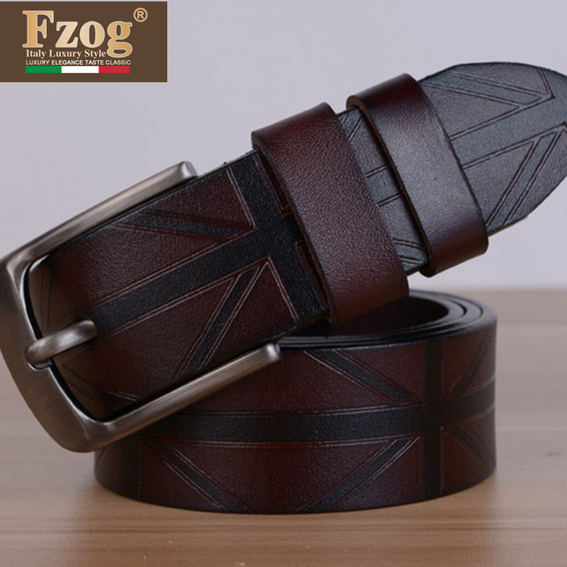 Fzog/fee zuo grid new embossed leather fashion casual men's leather waistband smooth buckle alloy belt