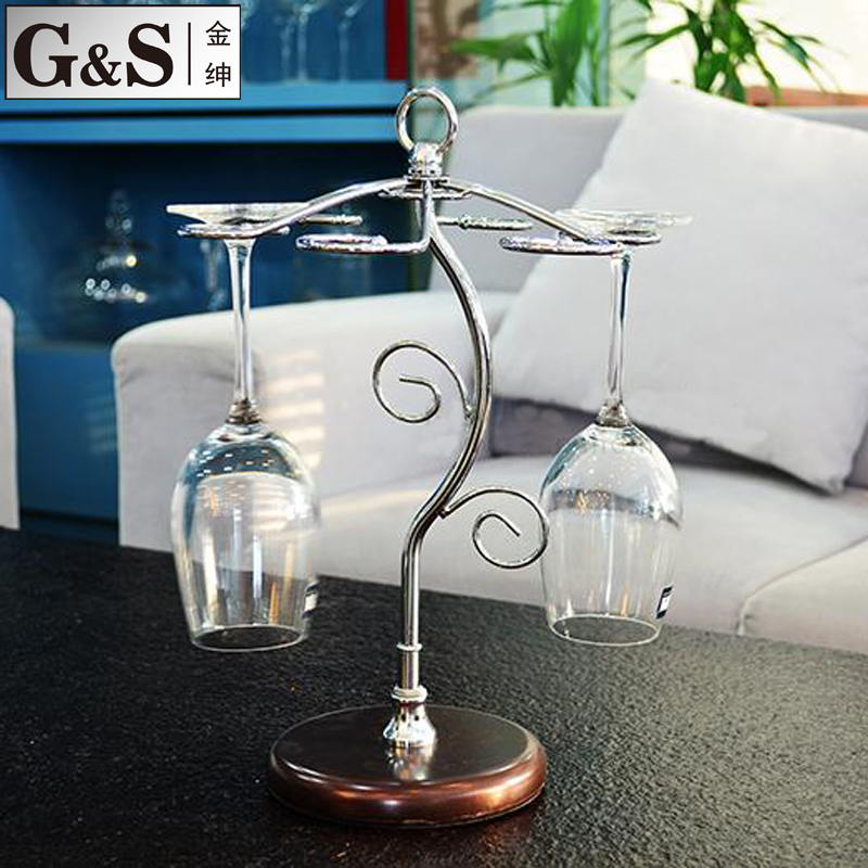 G & s golden chance creative wine cup holder cup holder stainless steel metal cup holder cup crystal goblet of red wine rack wine Cup holder cup holder