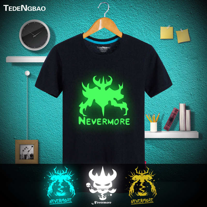 Game dota shadow magic reflective luminous bronzing sleeved t-shirt summer new cotton pure cotton male big yards short sleeve shirt