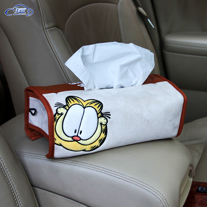 Garfield cartoon cute car seat car tissue pumping car tissue box creative car pumping tray sets