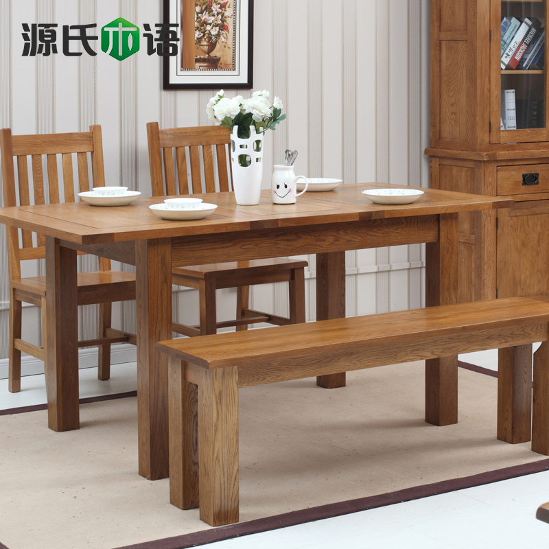 Genji wooden language of pure solid wood dining table retractable white oak dinette combination of environmental minimalist furniture american country