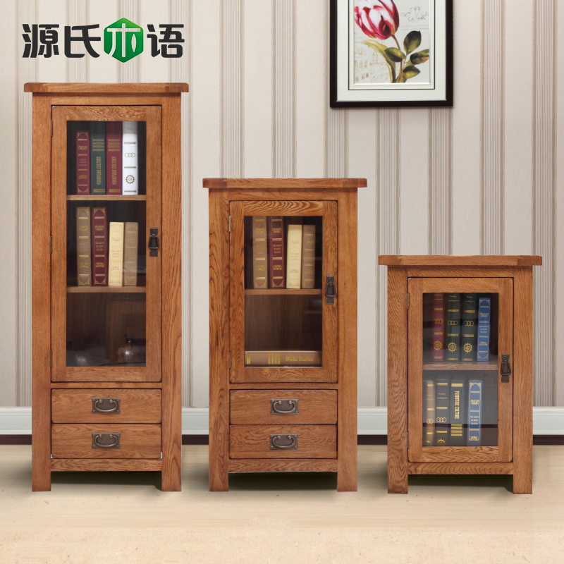 Genji wooden language of pure solid wood wardrobe closet white oak tv combination sideboard wine cabinet corner cabinet shelves american country