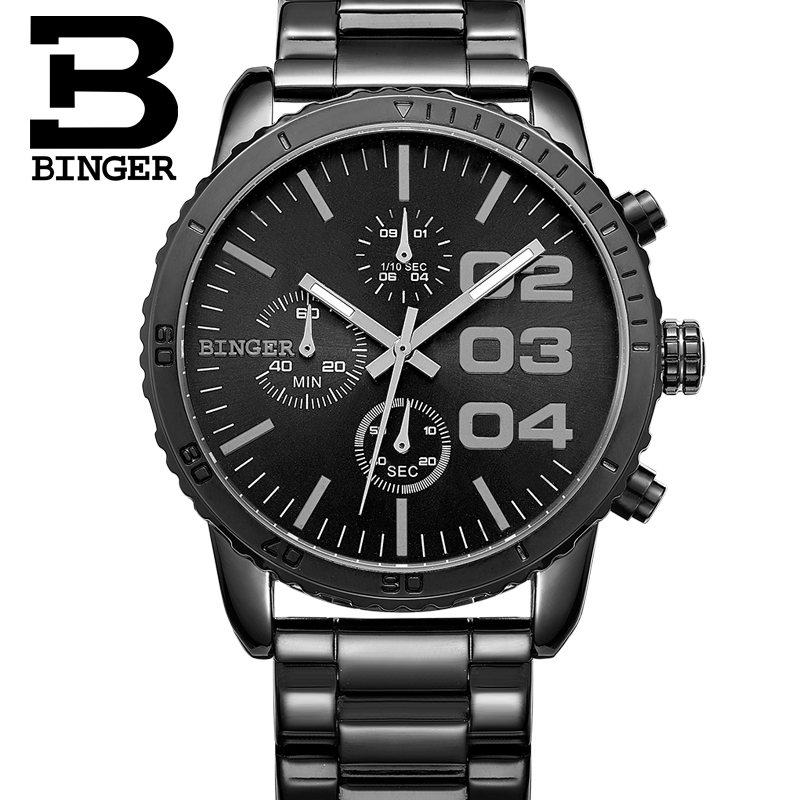 Genuine binger accusative steel watches quartz watch men watch waterproof steel luminous thin shipped move multifunction ares