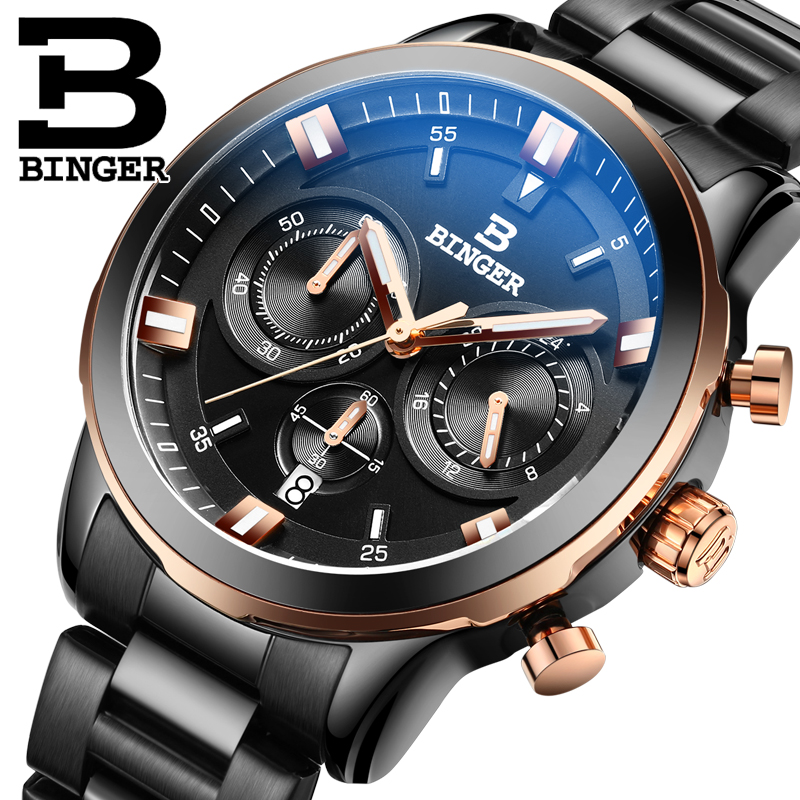 Genuine binger accusative steel watches quartz watch men watch waterproof steel luminous thin shipped move multifunction thunder