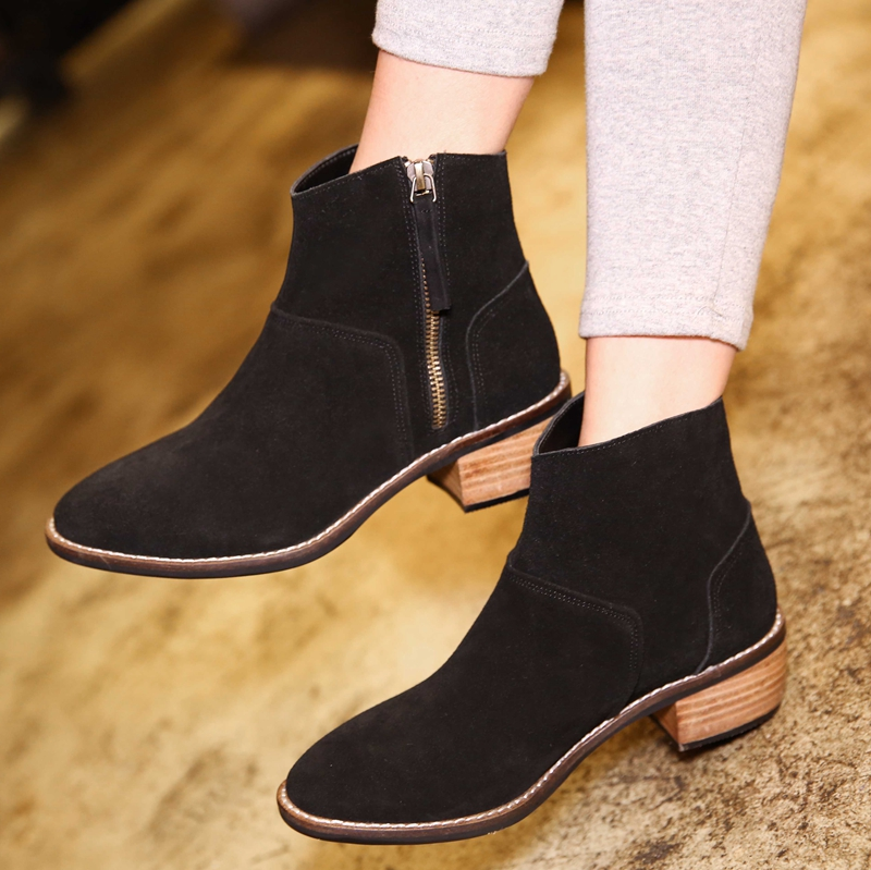Genuine di luode single boots female autumn and winter 2016 new boots 33 yards turn cow leather boots with martin boots in cotton