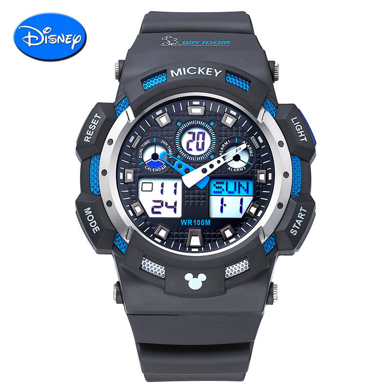 Genuine disney boy student movement waterproof multifunction dual display synchronized movement of children watch electronic watches