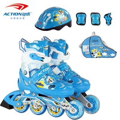 Genuine dynamic inline skates adjustable children's full suite flash inline skates roller skates drought skates skating skate shoes for men and women