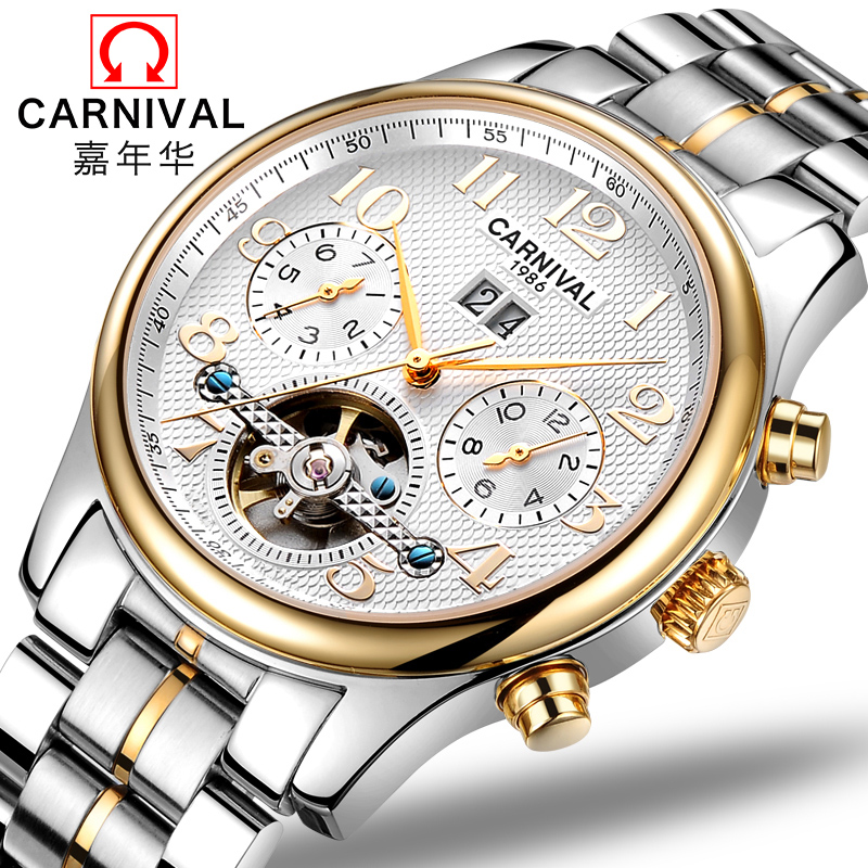 Genuine fiesta automatic mechanical watches men watches men watch hollow tourbillon mens watch leather men's business waterproof watch