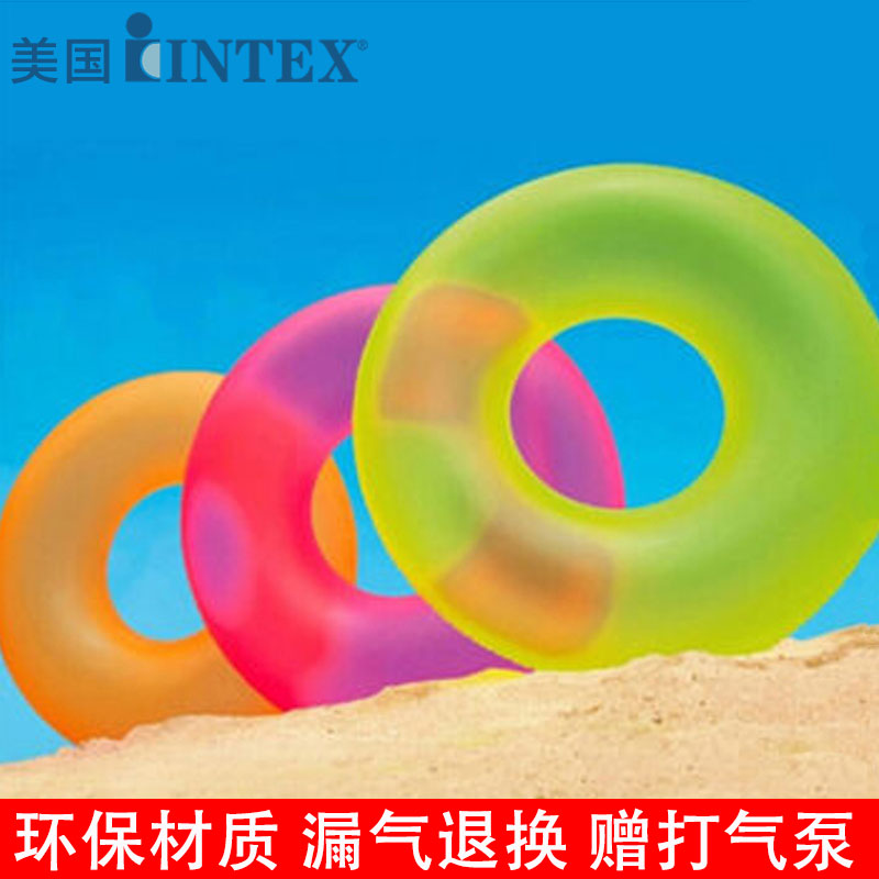 Genuine intex neon swimming laps adult children swim ring inflatable swimming ring buoy fluorescent colors for men and women lifebuoy