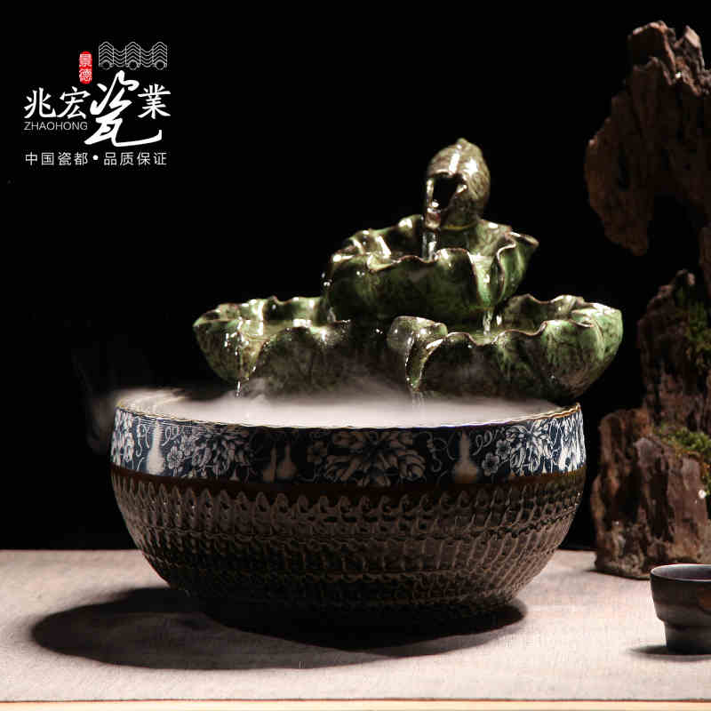 Genuine jingdezhen ceramic ornaments lucky feng shui water fountain basin 4-wheeler plus wet atomizer opening gifts