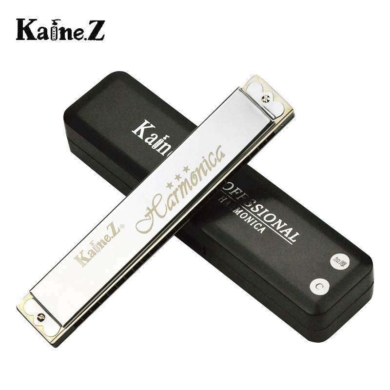 Genuine kane 24 hole harmonica polyphony k2401-1 thicker version of playing super mini bag free shipping to send materials