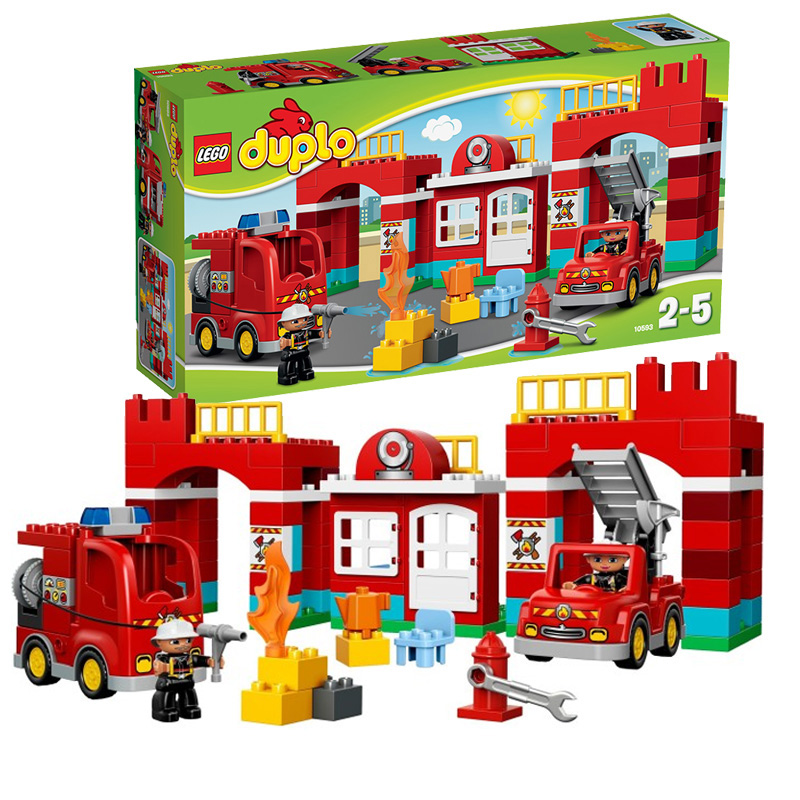 Genuine lego/lego building blocks assembled children's educational toys large particles depot series of fire station 10593