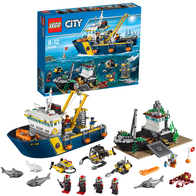 Genuine lego/lego building blocks assembled children's educational toys lego city series of deep sea adventure exploration ship 60095