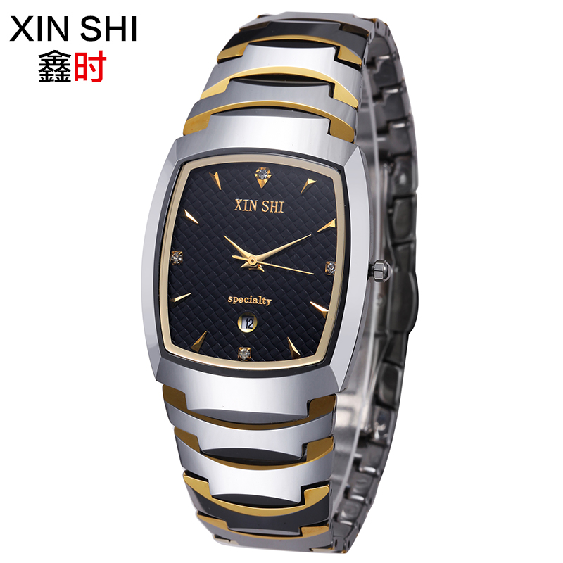 Genuine movement of imports of tungsten steel men's watch waterproof watch lovers watch female form sapphire crystal quartz