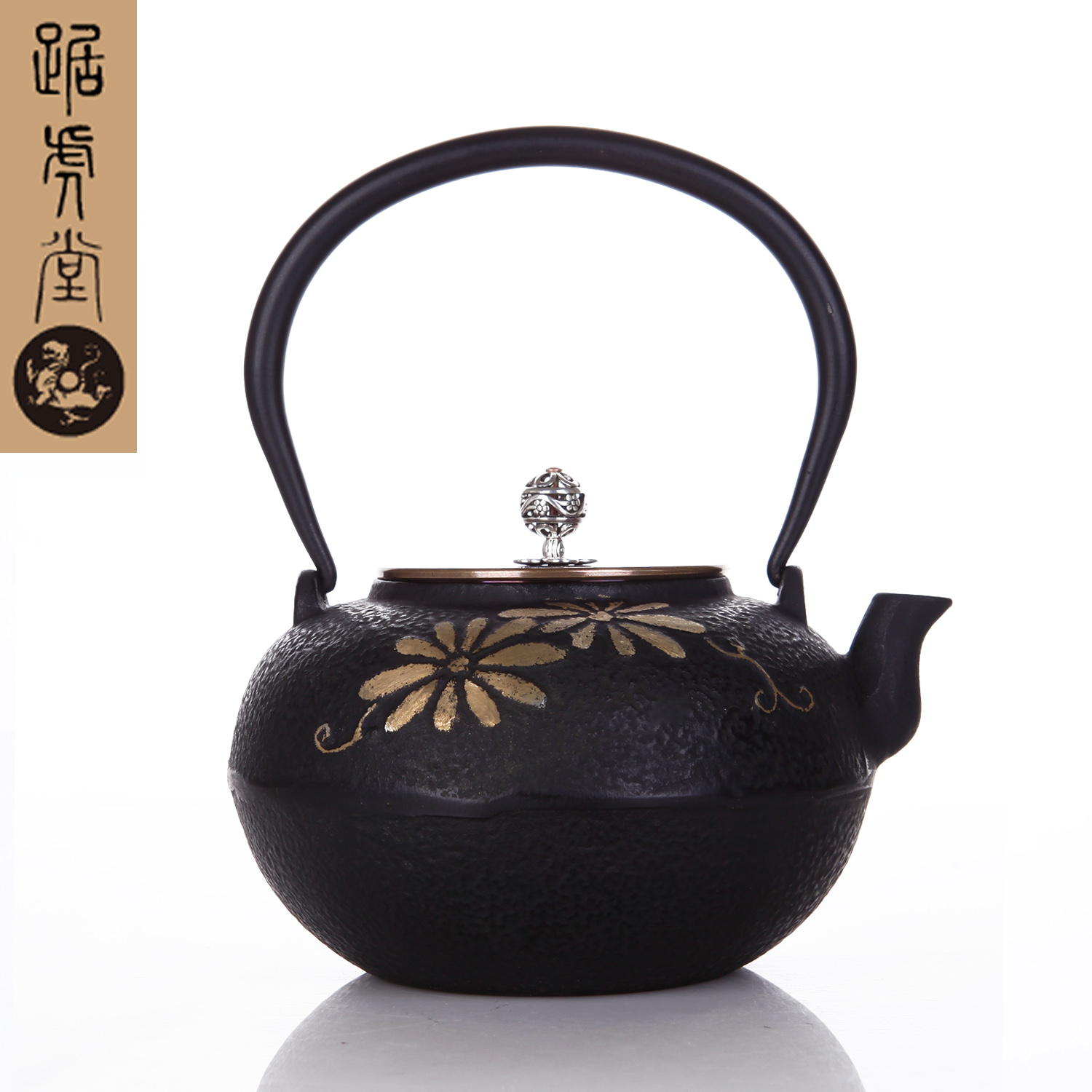 Genuine tiger hall squat iron pot of gold a 24-karat gold inlaid new cast iron teapot kettle teapot kettle boils