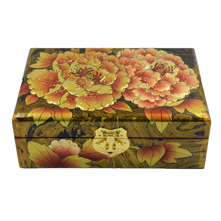 Germany edge pingyao push light lacquer jewelry box storage box jewelry box float paint lacquer paint technology becomes golden peony 21 cm