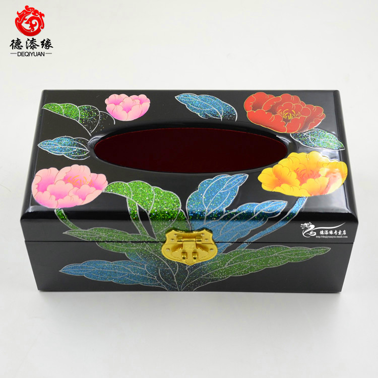 Germany edge pingyao push light lacquer jewelry box tissue box pumping carton box napkin 23 cm black tulip