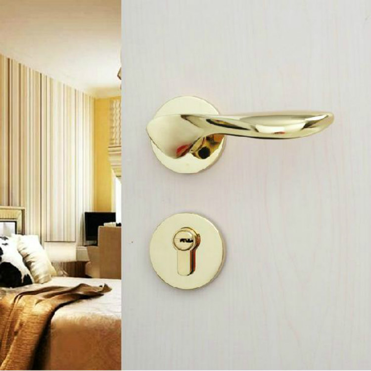 Germany hung ying bright gold pvd golden door locks split lock american interior room door locks copper cylinder