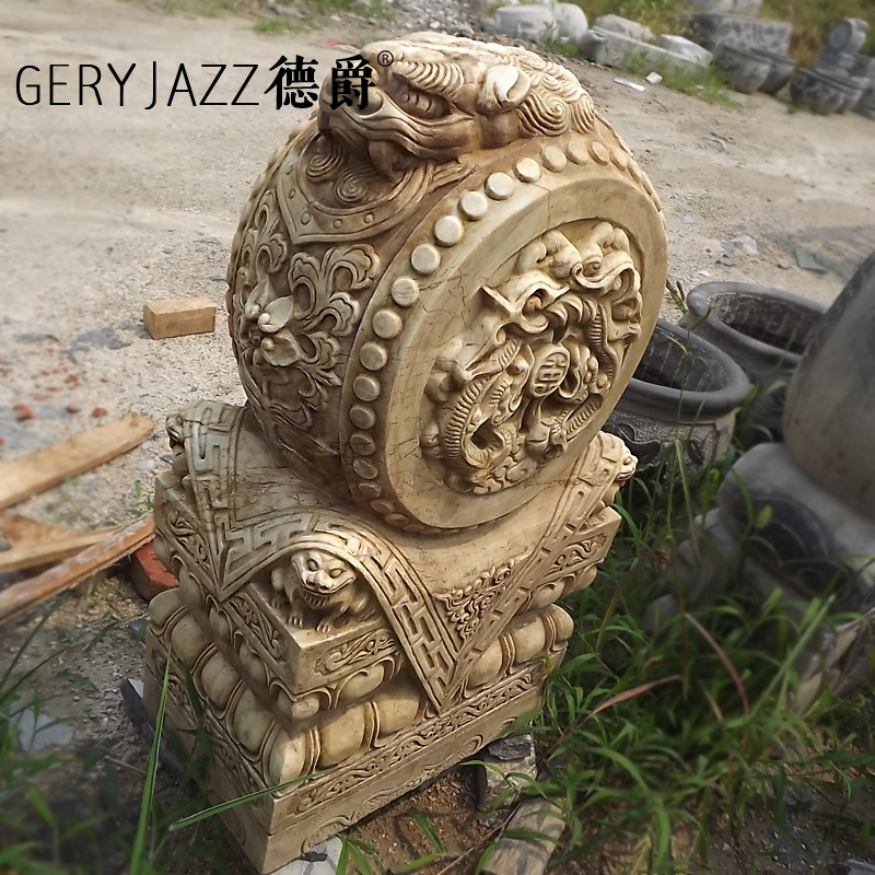 [Germany mg] to do the old holding drum mendun shigu mendun antique marble white marble stone carving quyang stone