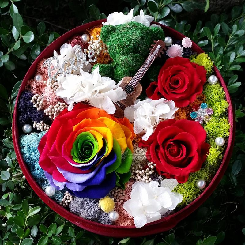 Giant colorful roses preserved flower boxes flower preservation moss bear guitar gift of red roses