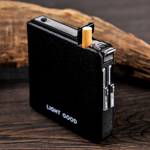 Gift 20 installed automatically ejected cigarette case with windproof cigarette lighter creative slim men free shipping