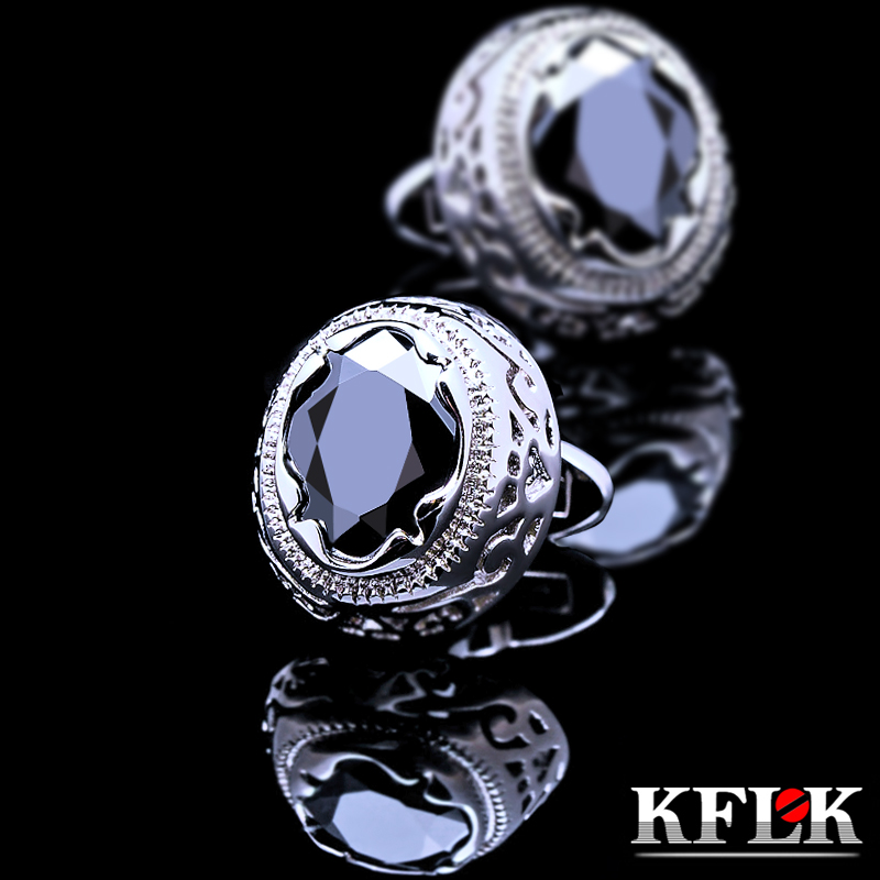 Gift box kflk luxury men's upscale rhodium cufflinks french shirt cufflinks black cufflinks nail color zircon