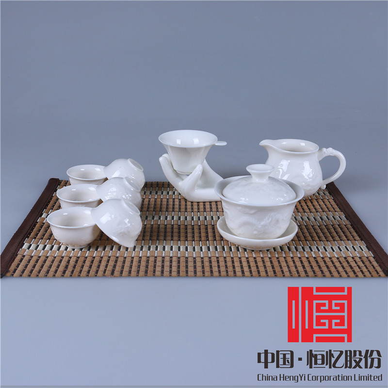 Gift packaging authentic ceramic dehua porcelain relief tea set (6 cups into)-set