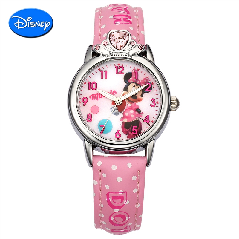 Girl child watches disney watches female student quartz watch mickey luminous watches waterproof leather belt female models