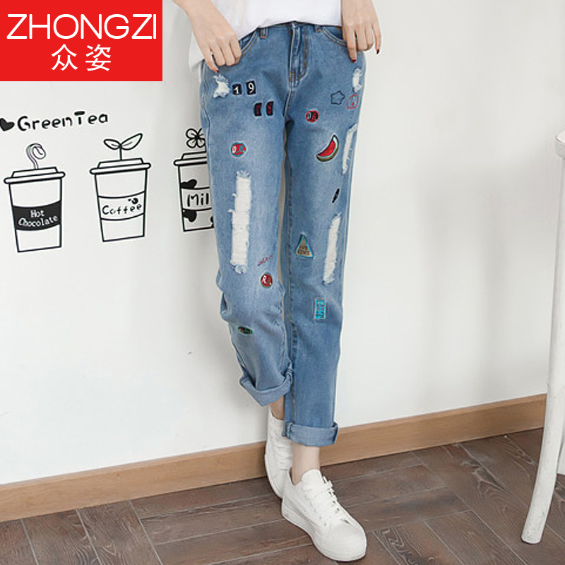 Girls college wind 2016 new fashion loose straight jeans nine holes in no bombs hundred ride embroidered jeans female