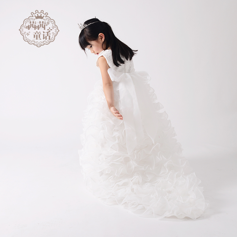 Girls dress mopping the floor long drag trailing wedding dress children dress skirt wedding dress princess dress flower girl dress children dress wedding flower girl
