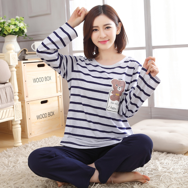 Get Quotations · Girls long sleeve pajamas female spring and autumn korean  girls striped cotton pajamas suit tracksuit large 91f6cb2ca