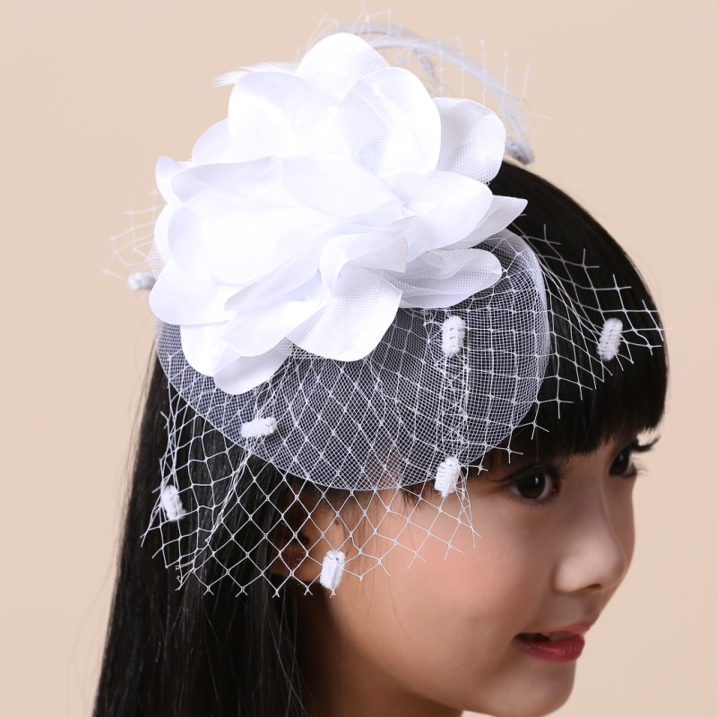 Girls new wave of big hair bands hairpin headdress exaggerated white red purple veil flower girl dress accessories