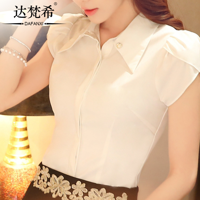 Givenchy amounted to 2016 summer new short sleeve white shirt female korean women wear suits ol slim was thin korean