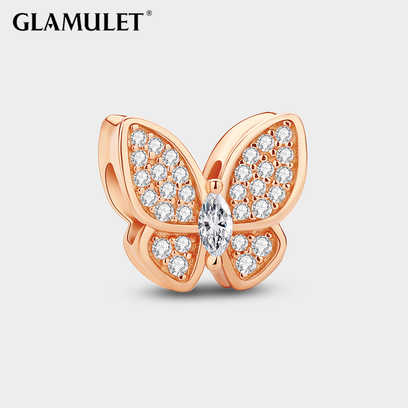 Glamulet gretl liesl charm 925 silver butterfly rose gold beaded beaded bracelet to send his girlfriend girlfriends birthday gift