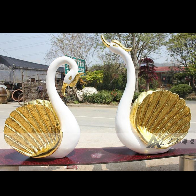 Glass and steel sculpture park sculpture fiberglass painted swan sculpture outdoor ornaments AZ1994
