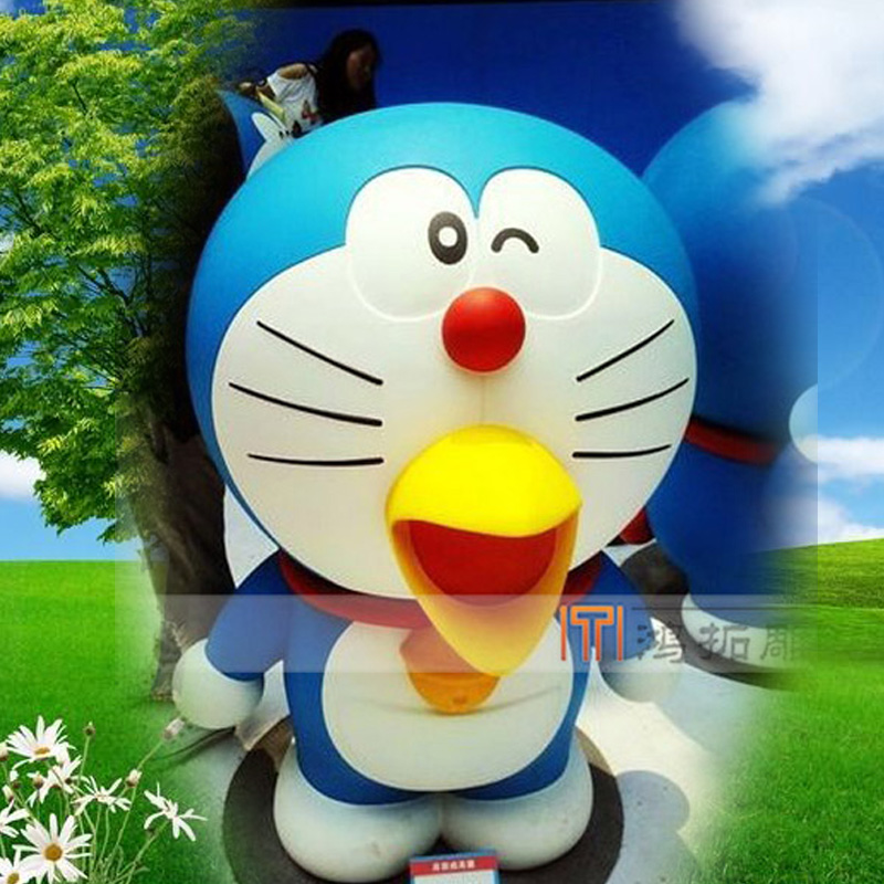 Glass and steel sculpture sculpture fiberglass cartoon cartoon character doraemon cartoon resin sculpture HT-208
