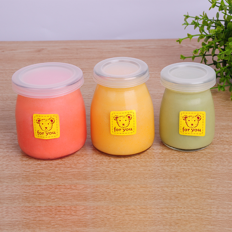 Glass cup mousse pudding cup pudding bottle of yogurt pudding bottle glass baking mold jelly cup yogurt cup lid