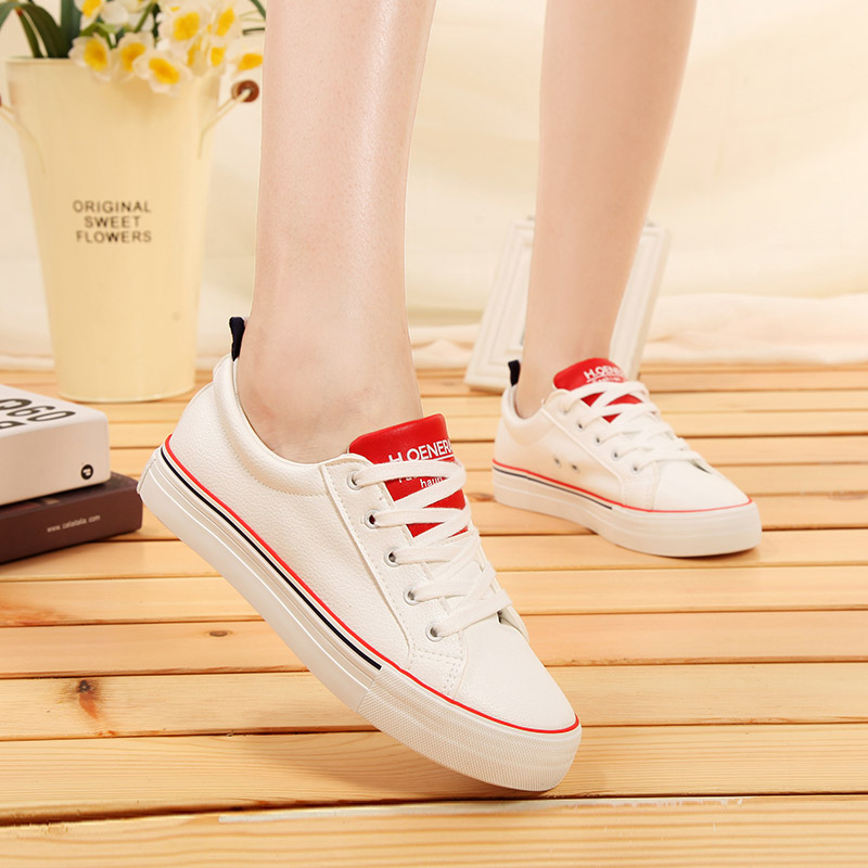 Global 2016 summer new solid color canvas shoes lace flat shoes korean version of white shoes student shoes to help low shoes