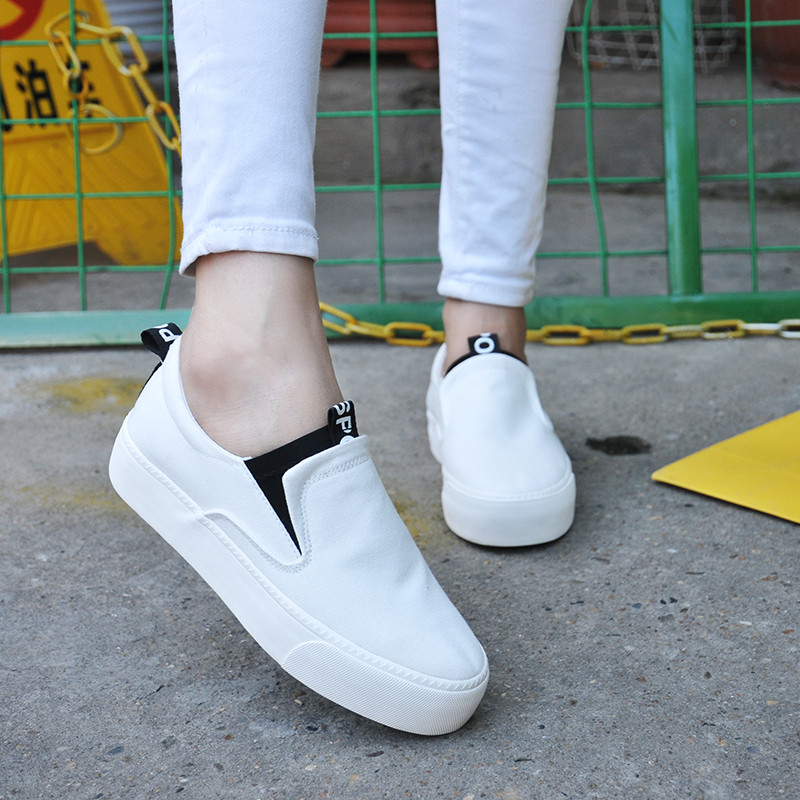 Global korean thick crust low to help set foot canvas shoes women shoes white shoes women shoes flat shoes women shoes casual loafers