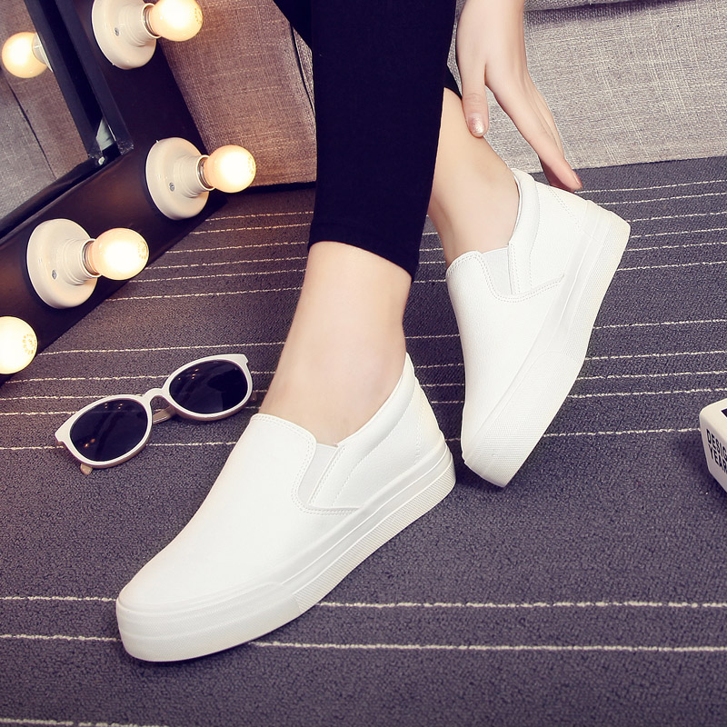 Global new canvas shoes women low to help set foot lazy shoes leather shoes platform shoes casual shoes white disposable