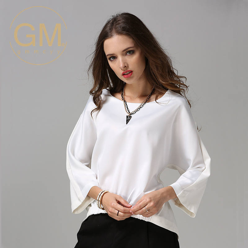 Gmmcyy summer new european and american fashion casual shirt stitching nine points sleeve large size women's 16 39