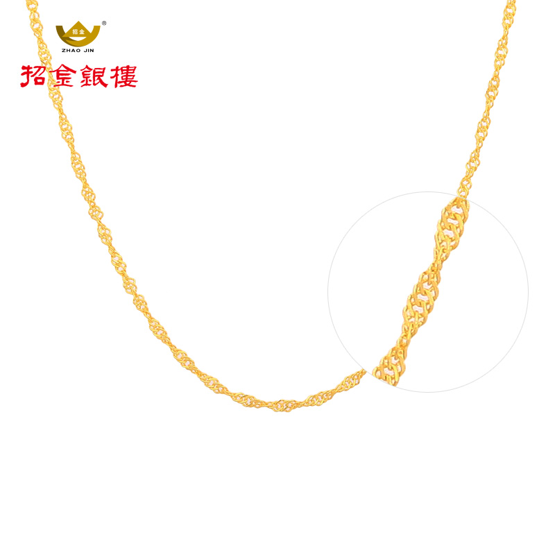 Gold and silver floor recruit足égold 9999 gold chain necklace female models simple gold necklace water ripples