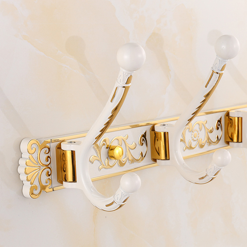 Gold and white folding european retro living room wall hook row hook coat hooks coat hooks door hook after hook