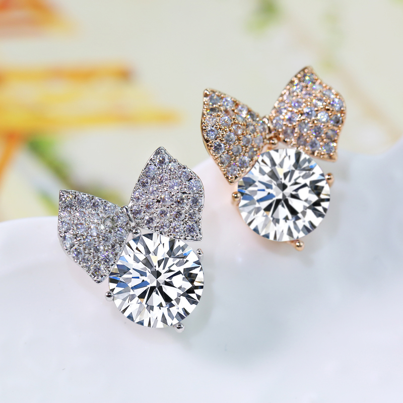 Gold charm jewelry sweet bow earrings wild female japanese and korean fashion elegant temperament flash zirconium earrings non pierced ear clip